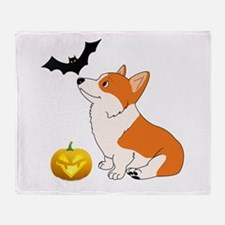 Halloween Corgi Throw Blanket