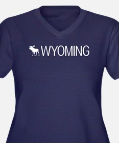 Wyoming: Moo Women's Plus Size V-Neck Dark T-Shirt