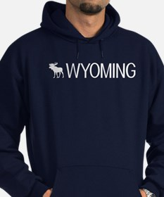Wyoming: Moose (White) Hoodie (dark)