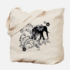 Black Elephant Swirls Tote Bag
