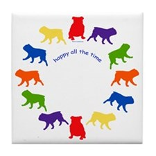 Happy Bulldog Tile Coaster