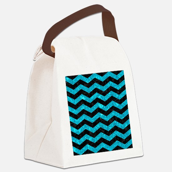 CHEVRON3 BLACK MARBLE & TURQUOISE Canvas Lunch Bag
