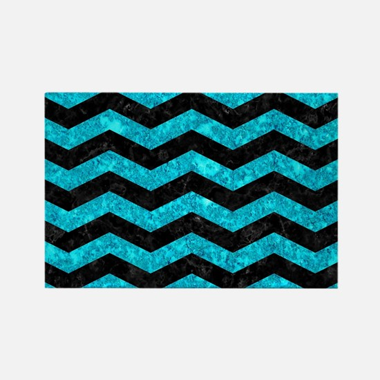 CHEVRON3 BLACK MARBLE & TURQUOISE Rectangle Magnet
