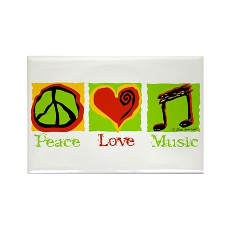 Peace Love Music Rectangle Magnet