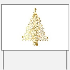 Gold Christmas Tree Yard Sign