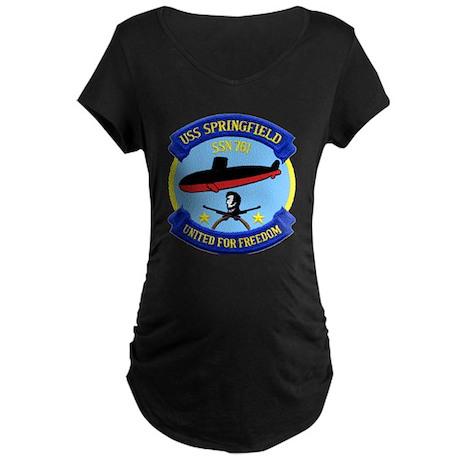 USS Springfield SSN 761 Maternity Dark T-Shirt