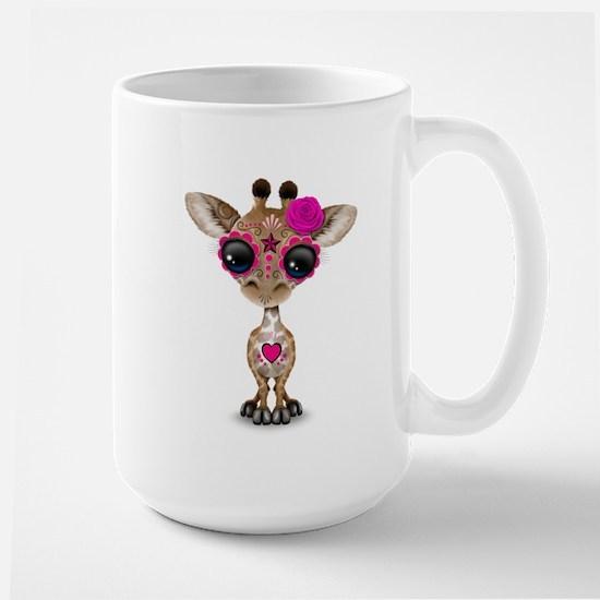 Pink Day of the Dead Sugar Skull Baby Giraffe Mugs