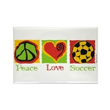 Peace Love Soccer Rectangle Magnet