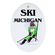 TOP Ski Michigan Oval Ornament