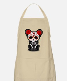 Red Day of the Dead Sugar Skull Panther Cub Apron