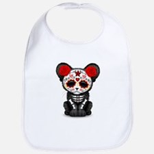 Red Day of the Dead Sugar Skull Panther Cub Bib