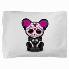 Pink Day of the Dead Sugar Skull Panther Cub Pillo