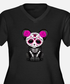 Pink Day of the Dead Sugar Skull Panther Cub Plus