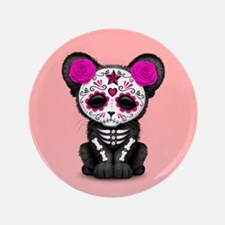 Pink Day of the Dead Sugar Skull Panther Cub Butto