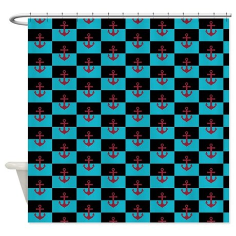 Red Anchor On Turquoise And Black Shower Curtain By SoaringSimple