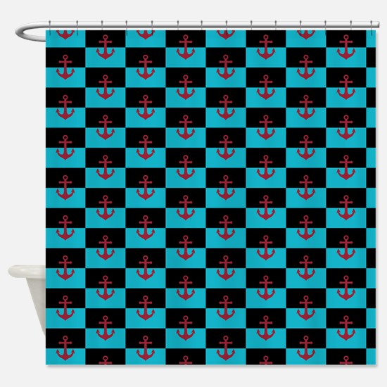 turquoise and black shower curtain. Red Anchor on Turquoise and Black Shower Curtain And Curtains  CafePress