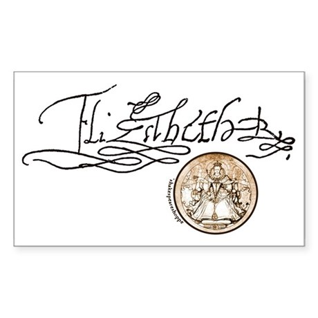 Elizabeth I Signature Rectangle Sticker