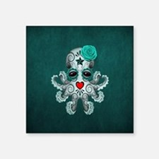 Teal Blue Day of the Dead Sugar Skull Baby Octopus