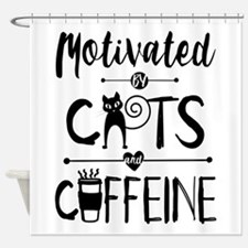 Coffee and Cats - Crazy Cat Lady Shower Curtain