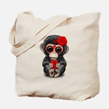 Red Day of the Dead Sugar Skull Baby Chimp Tote Ba