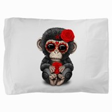 Red Day of the Dead Sugar Skull Baby Chimp Pillow