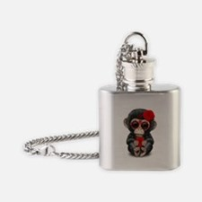 Red Day of the Dead Sugar Skull Baby Chimp Flask N