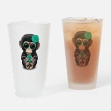 Teal Blue Day of the Dead Sugar Skull Baby Chimp D