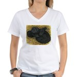 Black Bokhara Pigeon Women's V-Neck T-Shirt