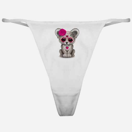 Pink Day of the Dead Sugar Skull White Lion Cub Cl