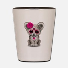 Pink Day of the Dead Sugar Skull White Lion Cub Sh