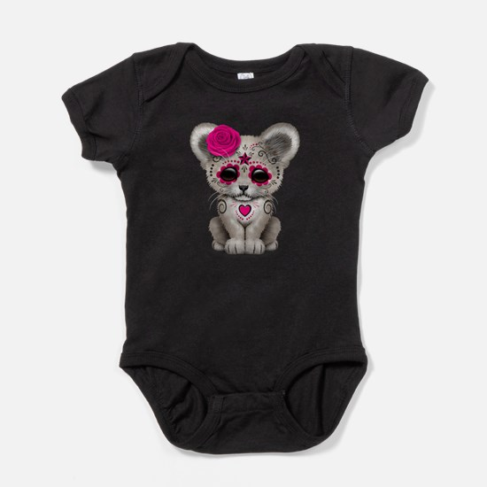 Pink Day of the Dead Sugar Skull White Lion Cub Ba