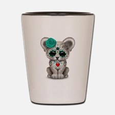 Teal Blue Day of the Dead Sugar Skull White Lion C