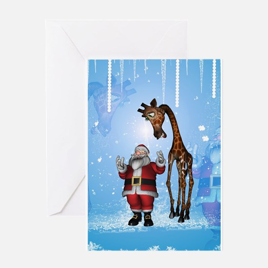 Santa Claus with funny giraffe Greeting Cards