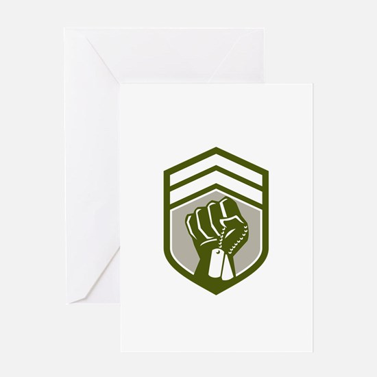 Clenched Fist Dogtag Crest Retro Greeting Cards