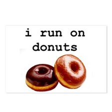 i run on donuts Postcards (Package of 8)