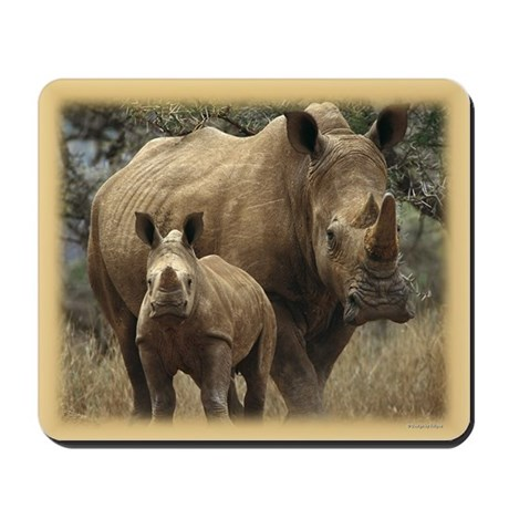 White Rhinoceros and Baby Mousepad