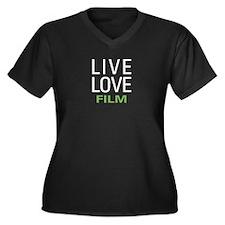 Live Love Fi Women's Plus Size V-Neck Dark T-Shirt