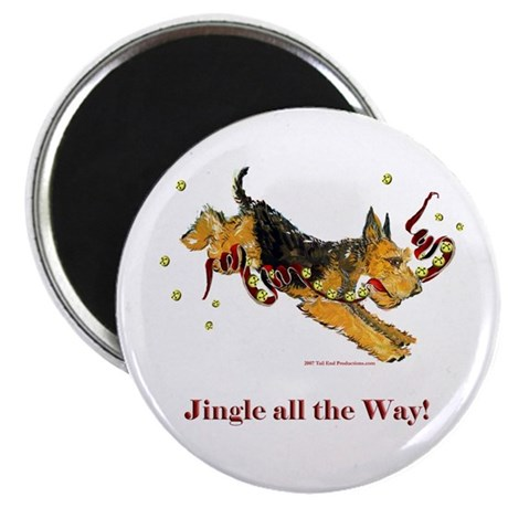 """Holiday Airedale Dashing Dog! 2.25"""" Magnet (100 pa"""
