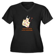 I wear the apron Women's Plus Size V-Neck Dark T-S
