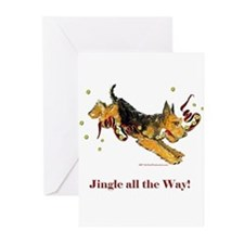 Holiday Airedale Dashing Dog! Greeting Cards (Pk o