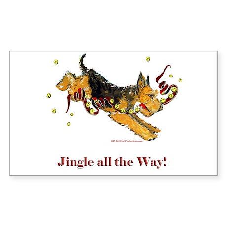 Holiday Airedale Dashing Dog! Sticker (Rectangular