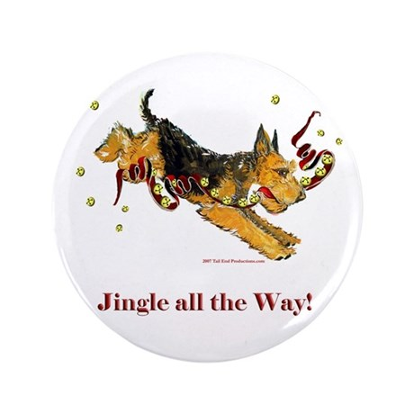 """Welsh Terrier Holiday Dog! 3.5"""" Button (100 pack)"""