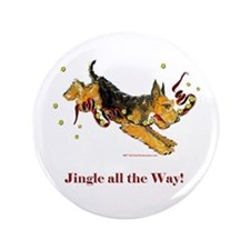 """Welsh Terrier Holiday Dog! 3.5"""" Button"""