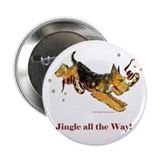 """Welsh Terrier Holiday Dog! 2.25"""" Button"""