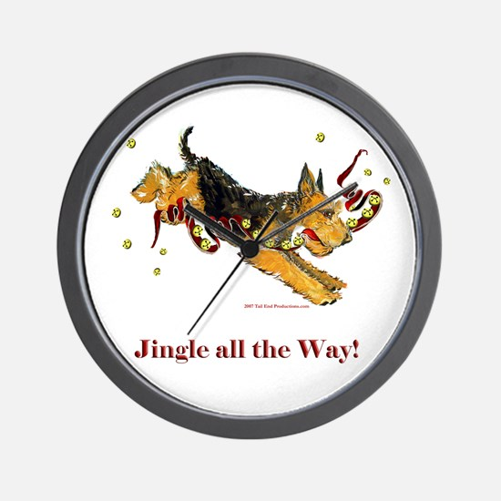 Welsh Terrier Holiday Dog! Wall Clock