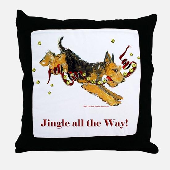 Welsh Terrier Holiday Dog! Throw Pillow