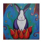 Marcy Hall's Lotus Rabbit Tile Coaster