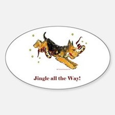 Welsh Terrier Holiday Dog! Oval Decal