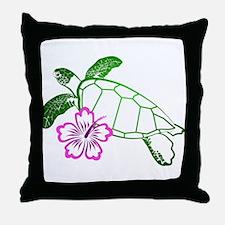 Sea Turtle w/ Hibiscus Throw Pillow
