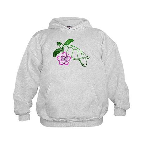 Sea Turtle w/ Hibiscus Kids Hoodie